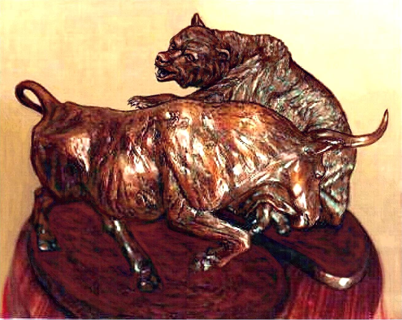 """The Bull & Bear"", bronze"